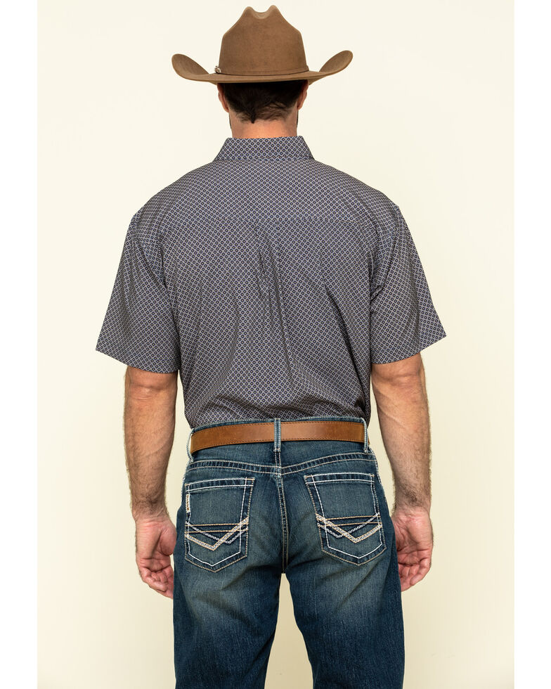 Cinch Men's Arena Flex Navy Geo Print Button Short Sleeve Western Shirt , Navy, hi-res
