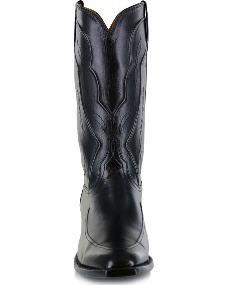 Lucchese Men's Handmade Black Kangaroo Leather Western Boots - Square Toe, Black, hi-res