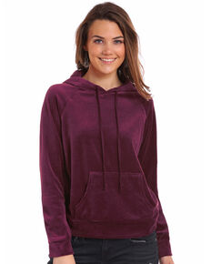 Panhandle Women's Velour Drawstring Hoodie, Burgundy, hi-res