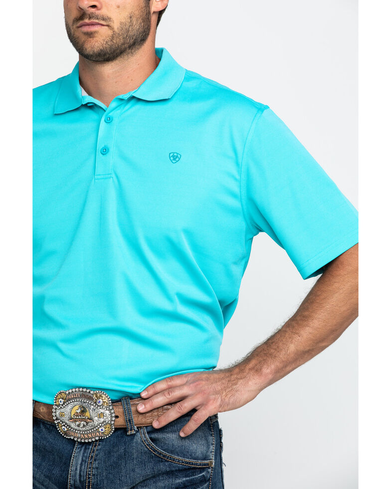 Ariat Men's Bluebird TEK Short Sleeve Polo Shirt , Blue, hi-res