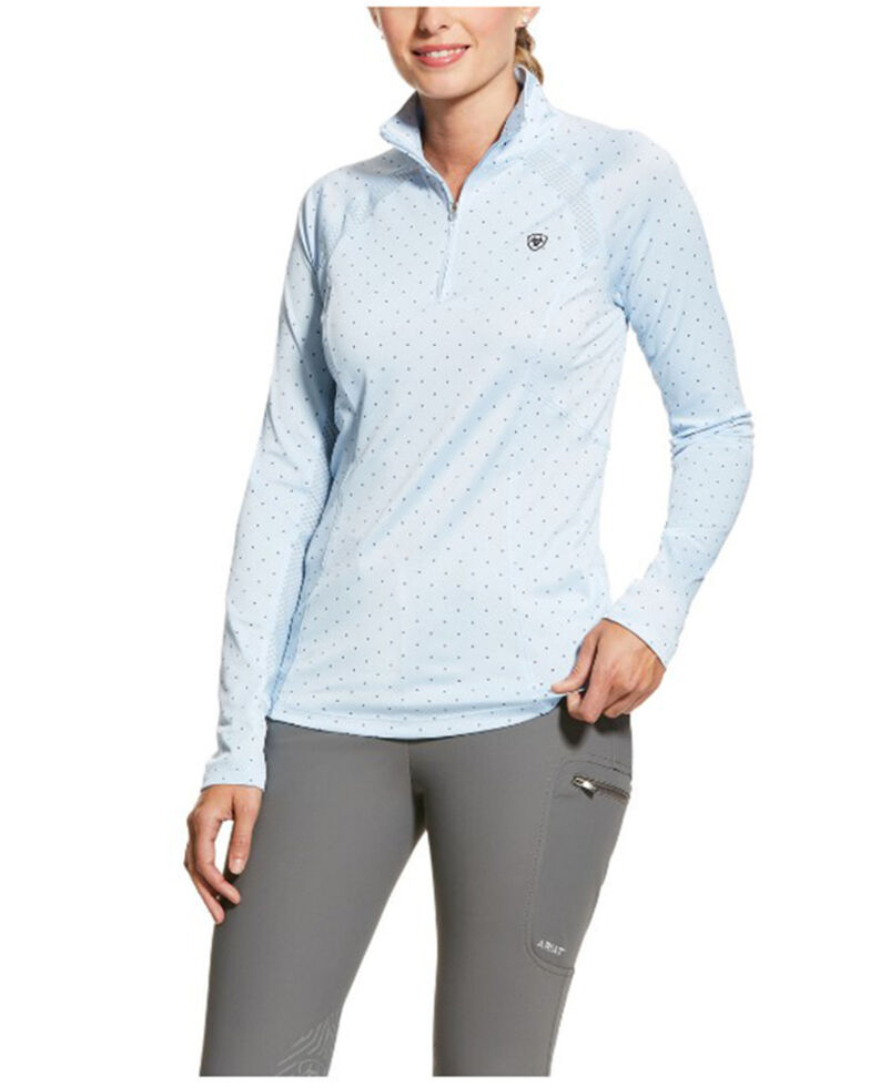 Ariat Women's Bridle Print Sunstopper 2.0 1/4 Zip Baselayer Pullover , Multi, hi-res