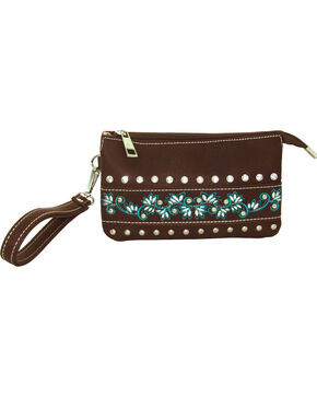 Savana Women's Event Approved Embroidered Clutch , Brown, hi-res