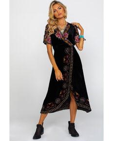 Johnny Was Women's Joanna Velvet Wrap Dress, Black, hi-res