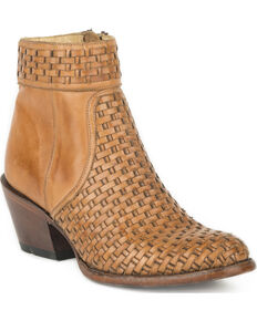 Stetson Women's Phoenix Basketweave Side Zip Booties - Round Toe, Brown, hi-res