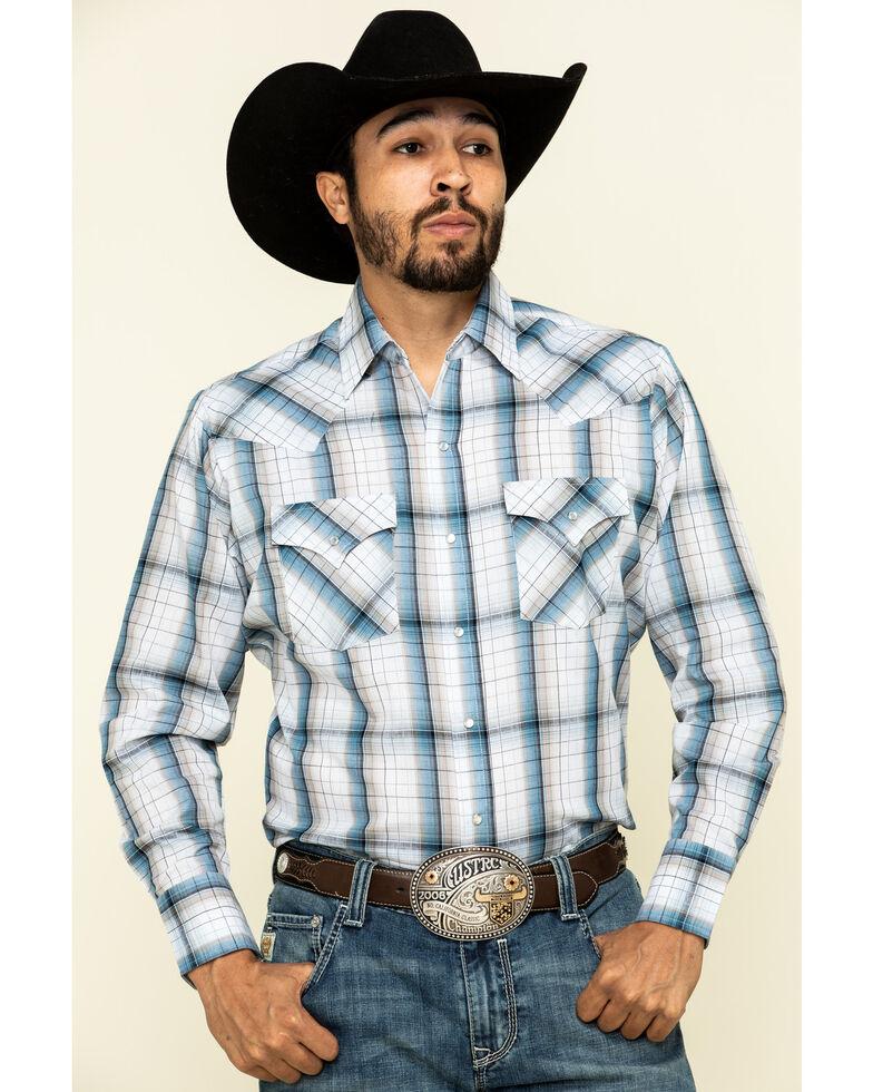 Ely Walker Men's Rust Copper / Blue Small Plaid Long Sleeve Western Shirt , Blue, hi-res
