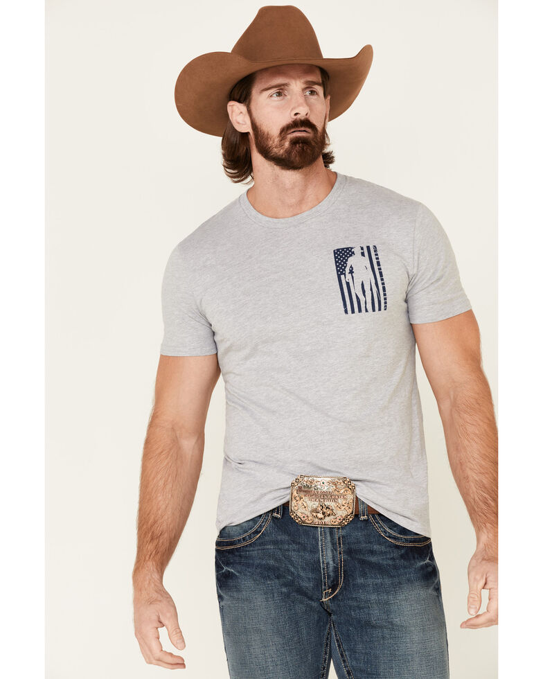 Cody James Men's Grey Stand Tall Flag Graphic T-Shirt , Grey, hi-res