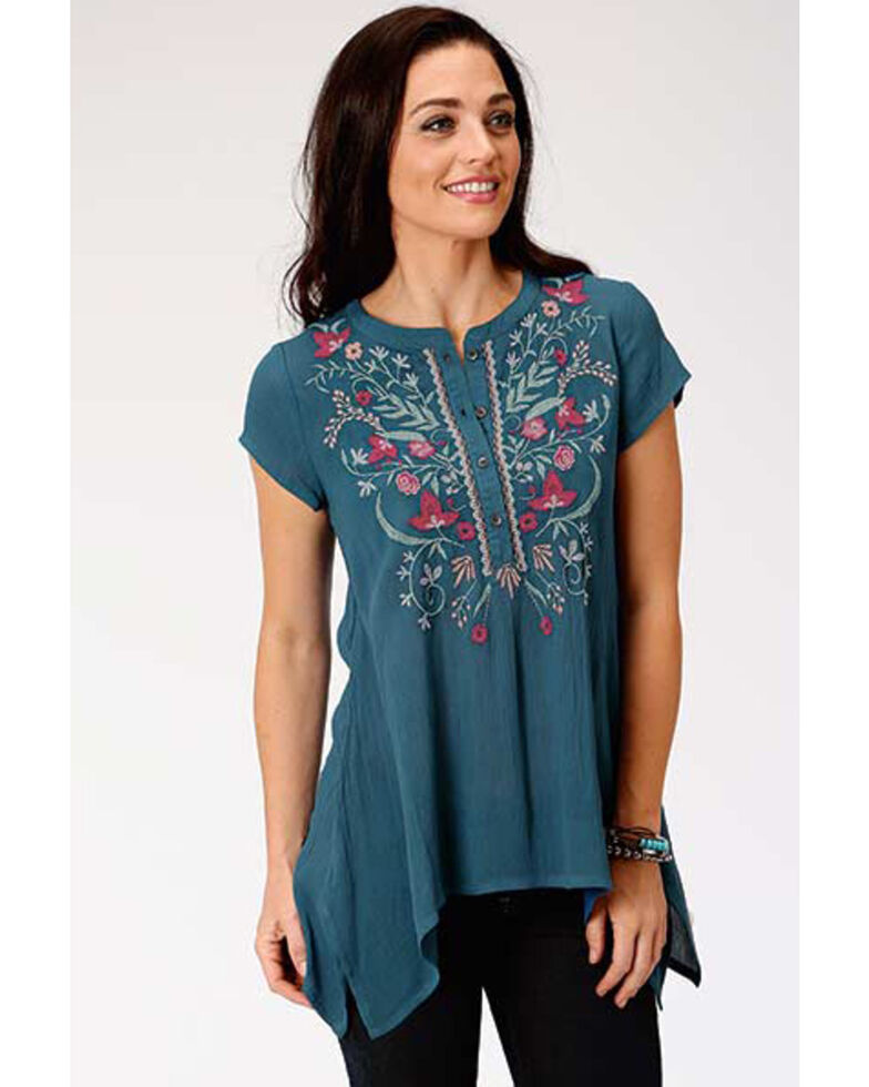 Studio West Women's Blue Floral Embroidered Short Sleeve Tunic, Blue, hi-res