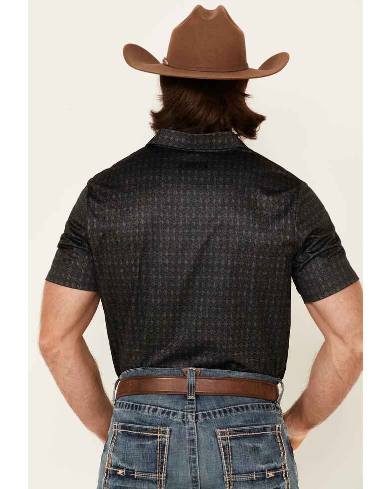 Rock & Roll Denim Men's Black Medallion Print Short Sleeve Polo Shirt , Black, hi-res