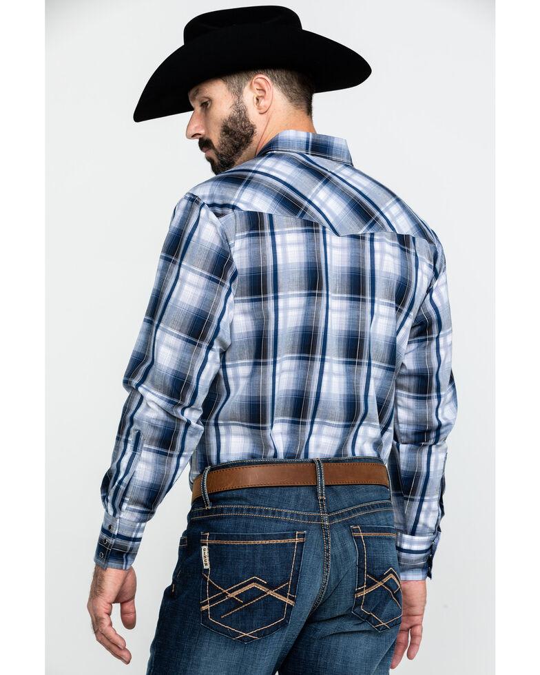 Ely Cattleman Men's Blue Medium Plaid Long Sleeve Western Shirt , Blue, hi-res