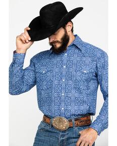 Rough Stock by Panhandle Men's Mirada Stretch Vintage Print Long Sleeve Western Shirt , Heather Blue, hi-res