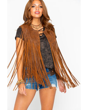 Cripple Creek Women's Distressed Fringe Leather Vest, Bark, hi-res