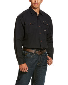 Ariat Men's Rebar Made Tough Durastretch Long Sleeve Work Shirt - Big & Tall , Black, hi-res
