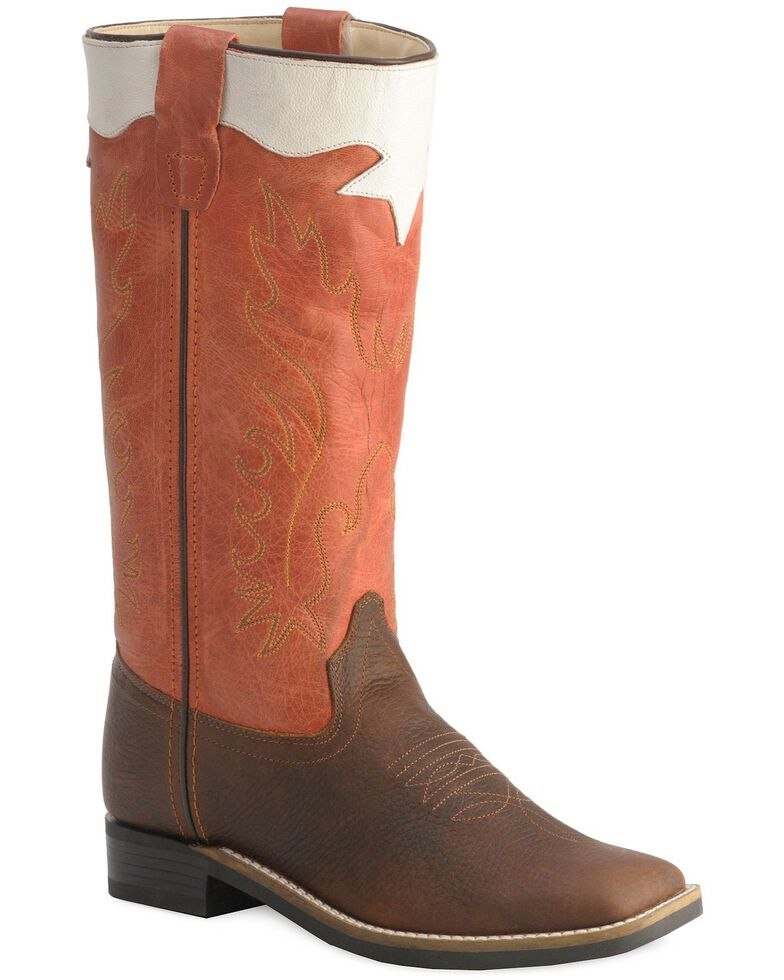 Old West Children's Stove Pipe Cowboy Boots - Square Toe, Rust, hi-res
