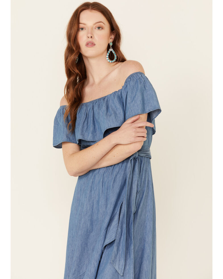 Flying Tomato Women's Off Shoulder Tulip Hem Maxi Dress, Blue, hi-res
