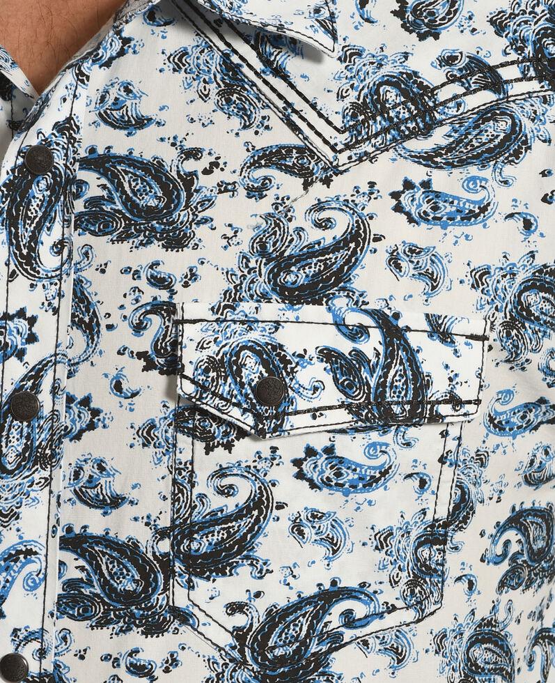 Moonshine Spirit Men's Paisley Short Sleeve Western Shirt, Blue, hi-res