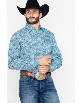 Roper Men's Paisley Print Snap Long Sleeve Shirt  , Blue, hi-res