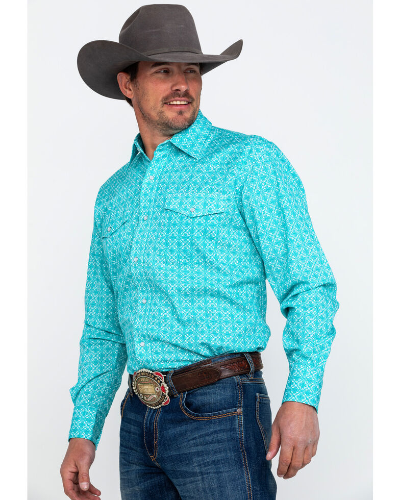 Roper Men's Amarillo Geo Print Long Sleeve Western Shirt , Turquoise, hi-res