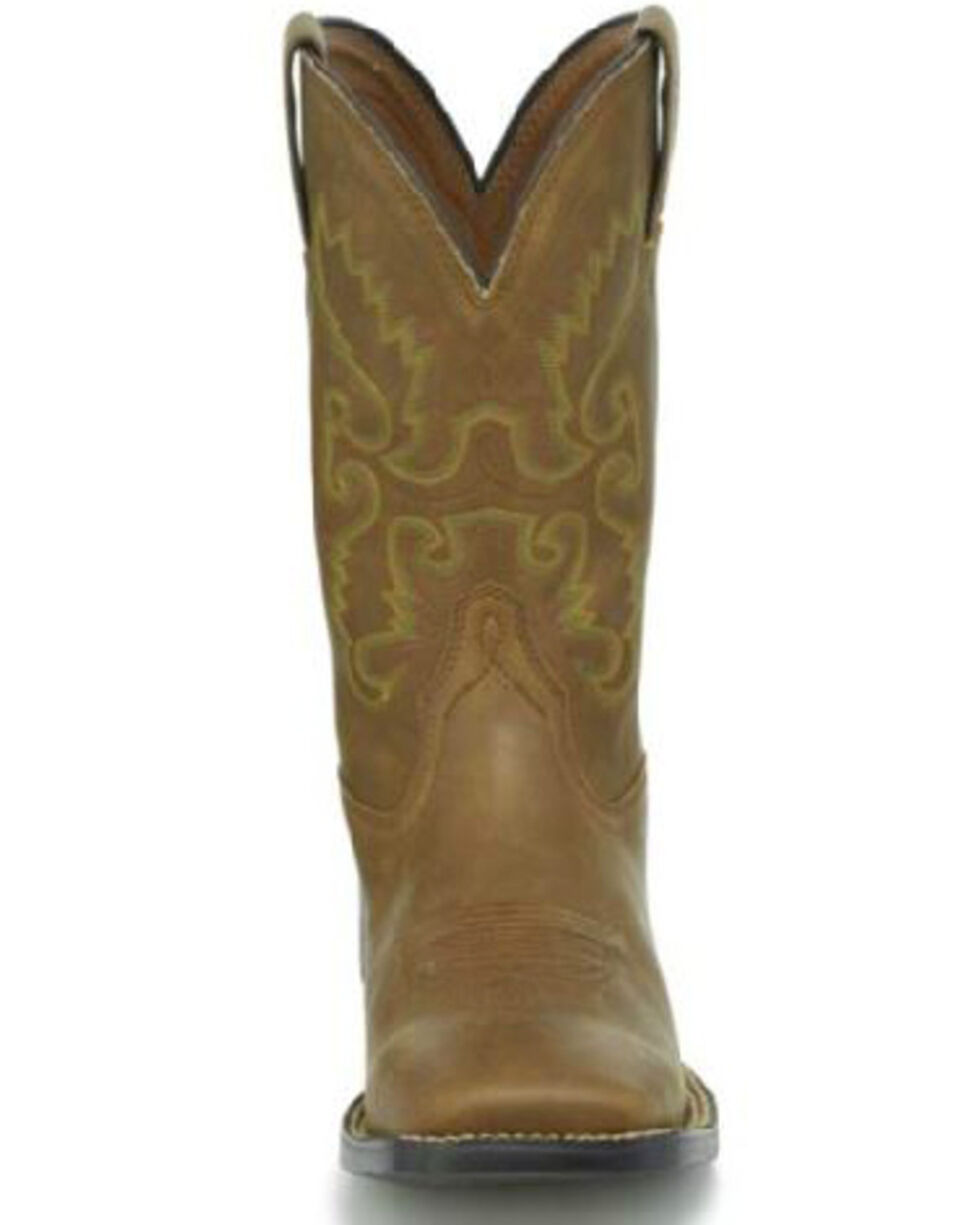 Justin Men's Farm & Ranch Western Boots - Wide Square Toe, Brown, hi-res