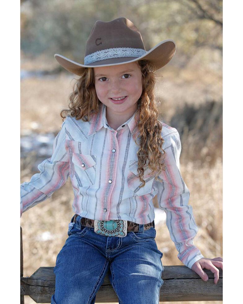 Cruel Girl Girls' Striped Snap Long Sleeve Western Shirt , Purple, hi-res