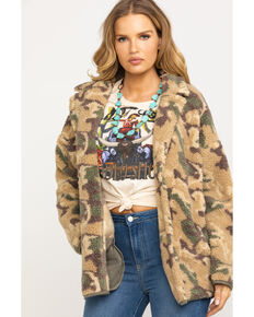 Mystree Women's Green & Tan Camo Sherpa Coat , Camouflage, hi-res
