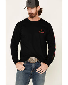Browning Men's Patriotic Paint Stroke Distressed Graphic Long Sleeve T-Shirt , Black, hi-res