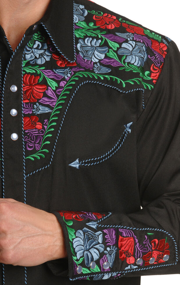 Scully Vibrant Floral Embroidered Retro Western Shirt, Blue, hi-res
