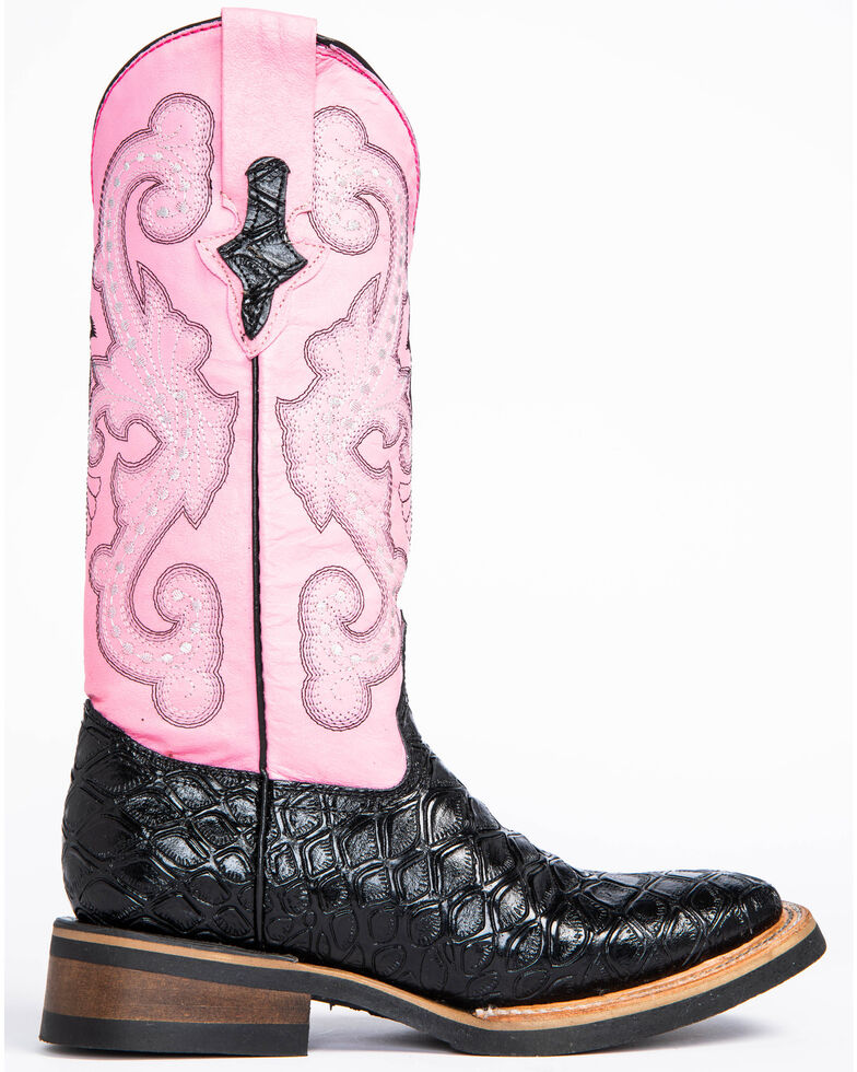 Ferrini Women's Black Anteater Print Cowgirl Boots - Square Toe , Black, hi-res