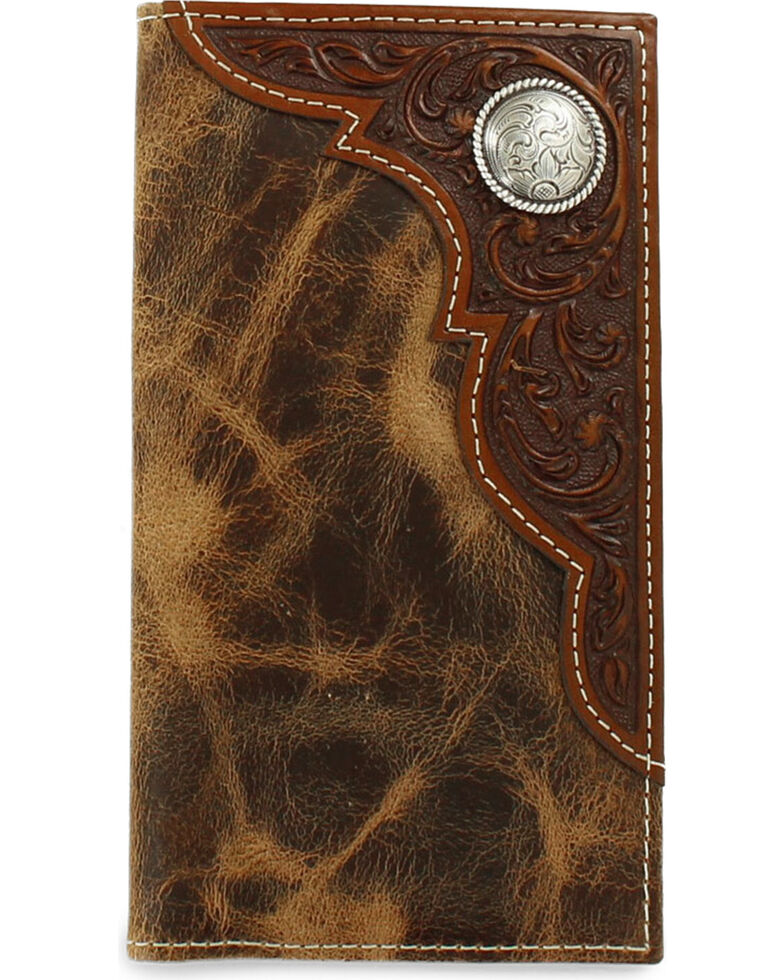 Ariat Men's Embossed Overlay Rodeo Wallet, Tan, hi-res
