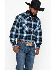 Ely Walker Men's Brawny Flannel Long Sleeve Western Shirt - Big , Black, hi-res