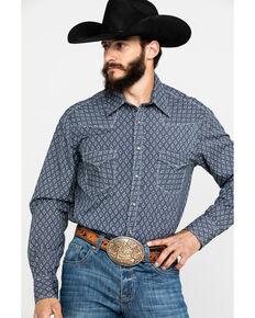 Rock & Roll Cowboy Men's Crinkle Diamond Geo Print Long Sleeve Western Shirt , Navy, hi-res