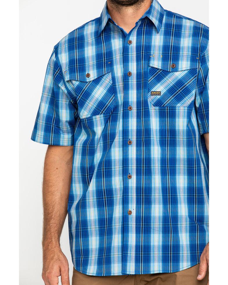 Ariat Men's Navy Plaid Rebar Made Tough Short Sleeve Work Shirt , Navy, hi-res
