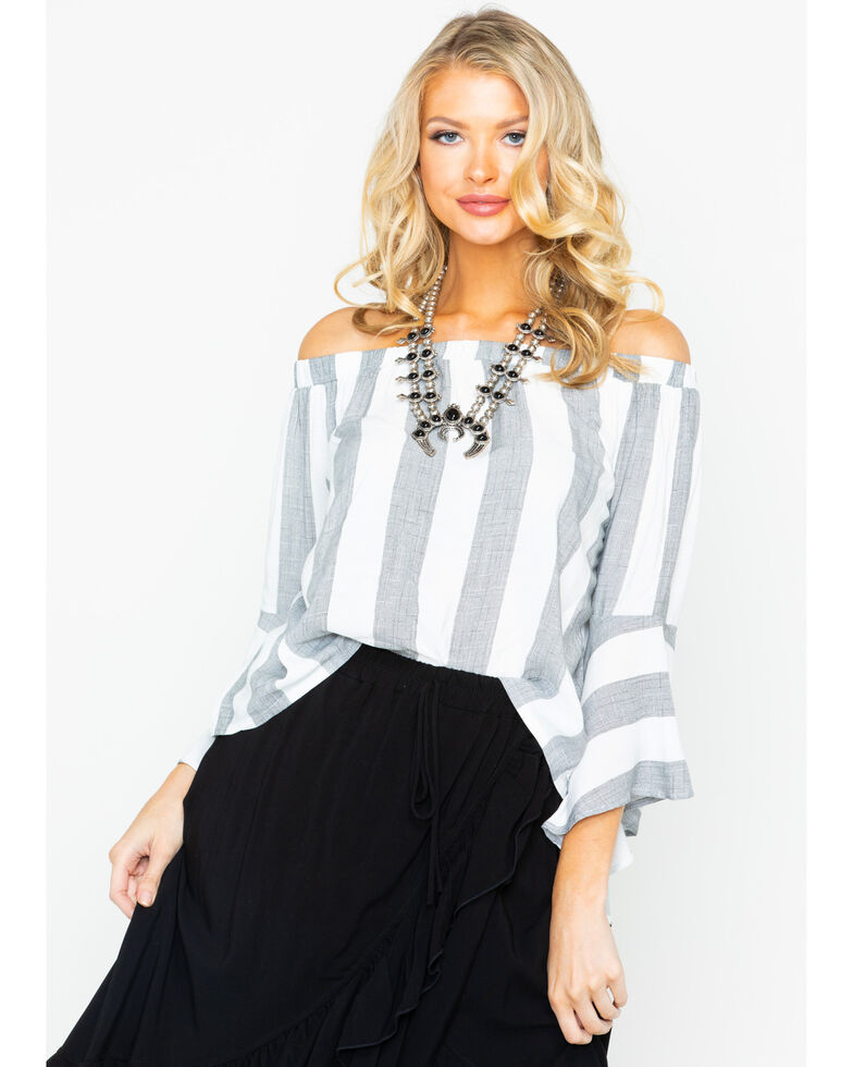 d5e9e32bbe7f Zoomed Image Shyanne Women's Striped Off Shoulder Bell Sleeve Top ,  Charcoal, hi-res