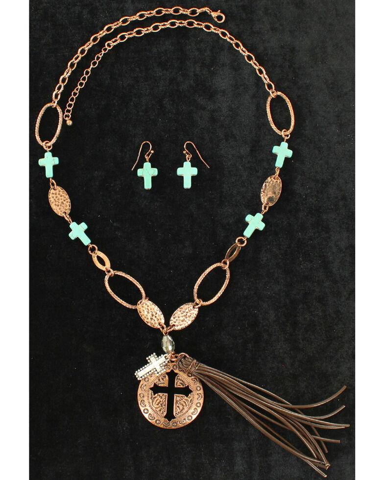 Blazin Roxx Women's Leather Turquoise Cross Jewelry Set , Rust Copper, hi-res