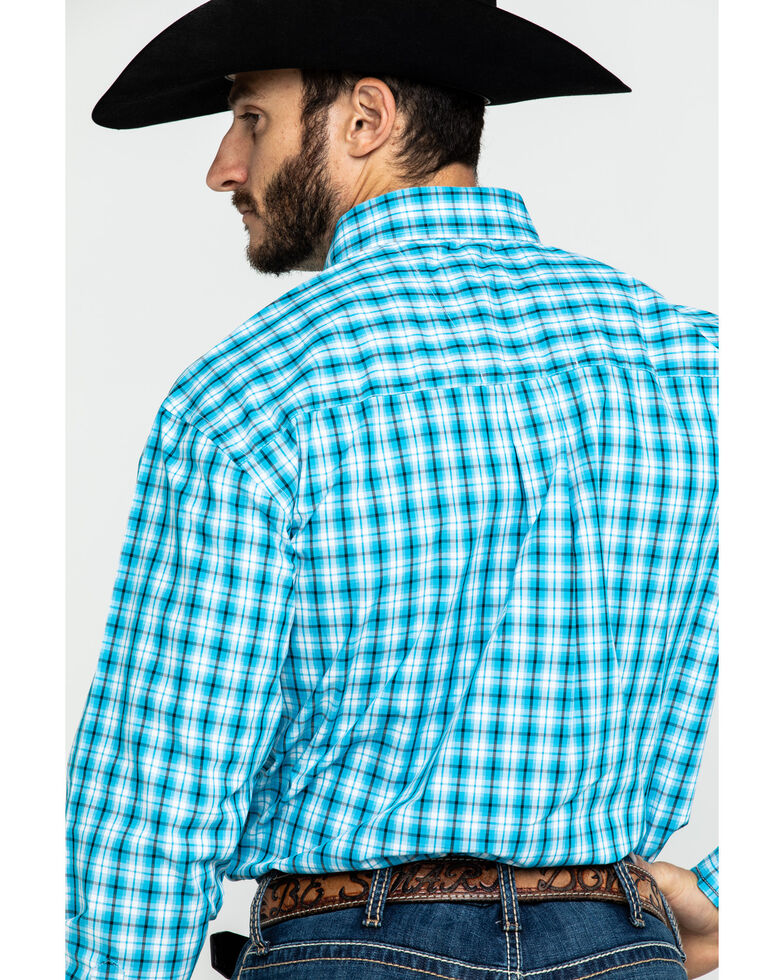 George Strait By Wrangler Men's Med Plaid Long Sleeve Western Shirt - Tall , Turquoise, hi-res