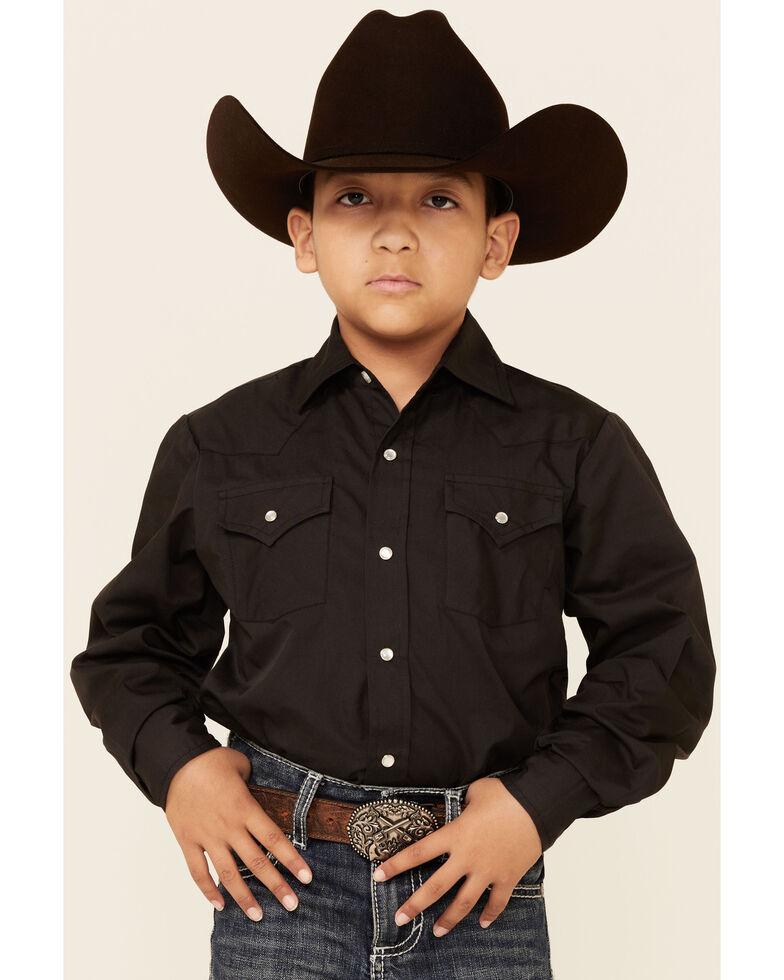 Ely Walker Boys' Solid Black Long Sleeve Snap Western Shirt , Black, hi-res