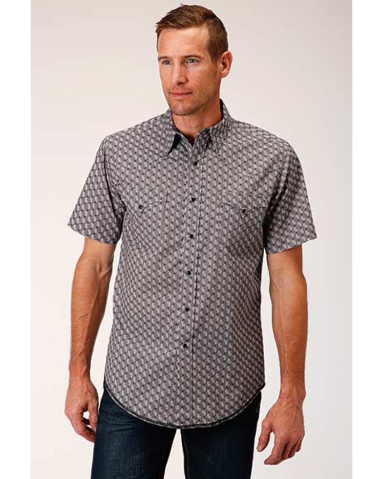 West Made Men's Neat Paisley Print Short Sleeve Western Shirt , Grey, hi-res