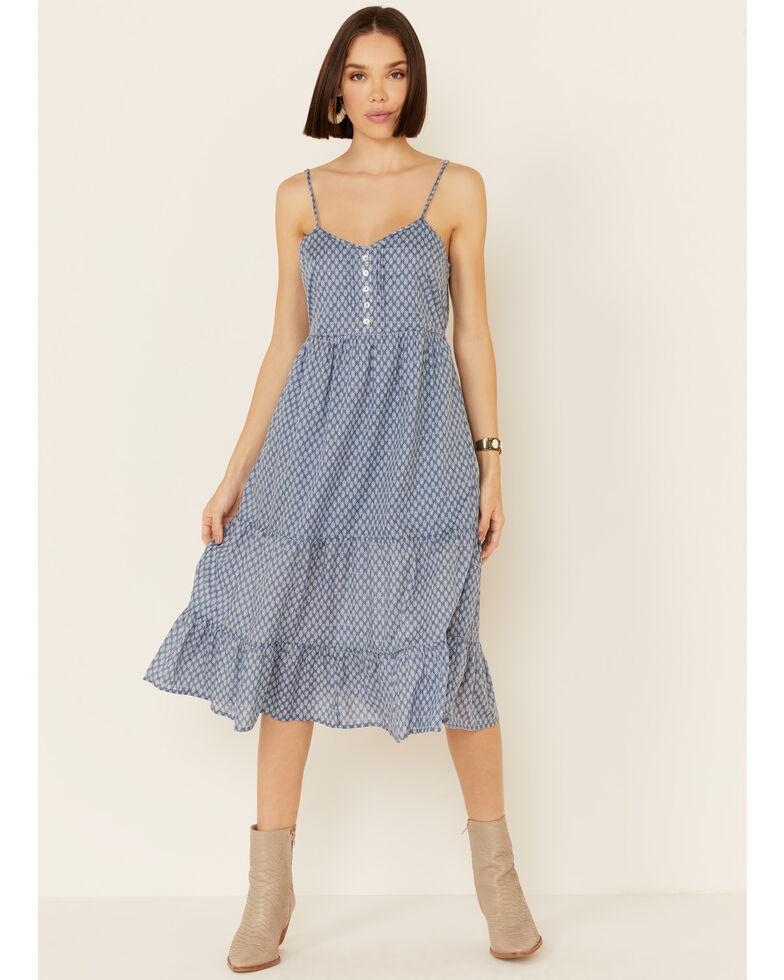 Very J Women's Geo Print Tiered Midi Dress, Blue, hi-res