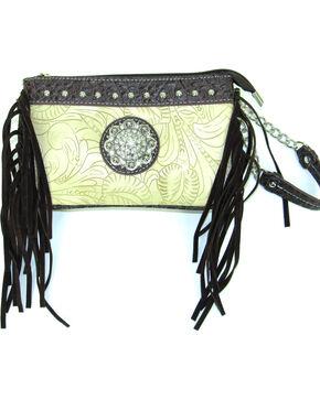 Savana Women's Ivory Tooled Crossbody/Wristlet with Fringe, Ivory, hi-res