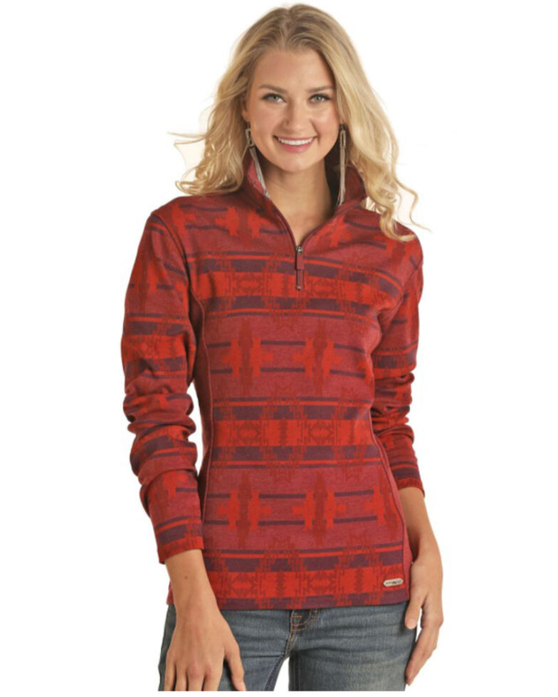 Powder River Outfitters Women's Red Aztec Print Fleece Pullover, Red, hi-res