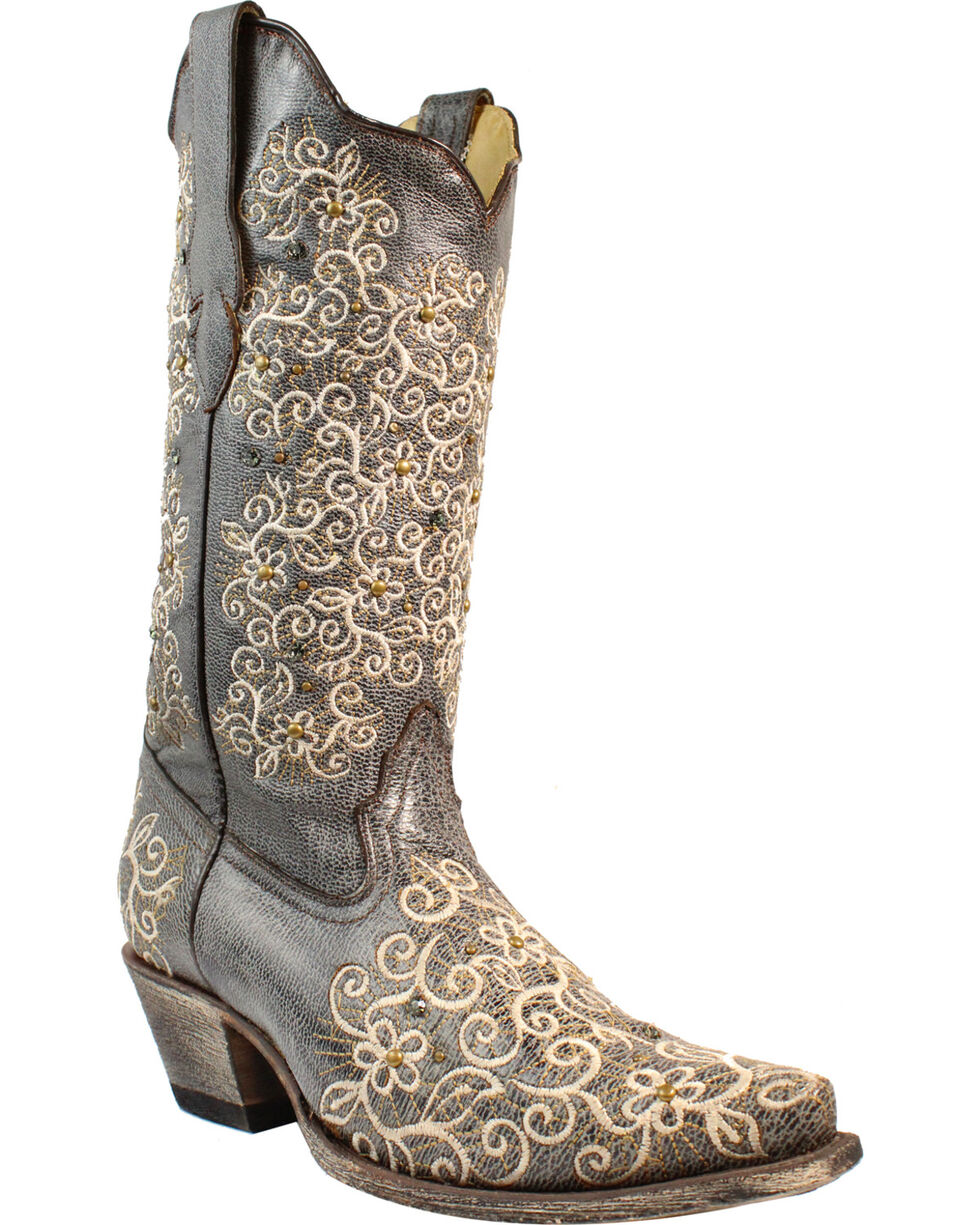 Corral Women's Grey Floral Embroidered Studs & Crystals Cowgirl Boots - Snip Toe, Grey, hi-res