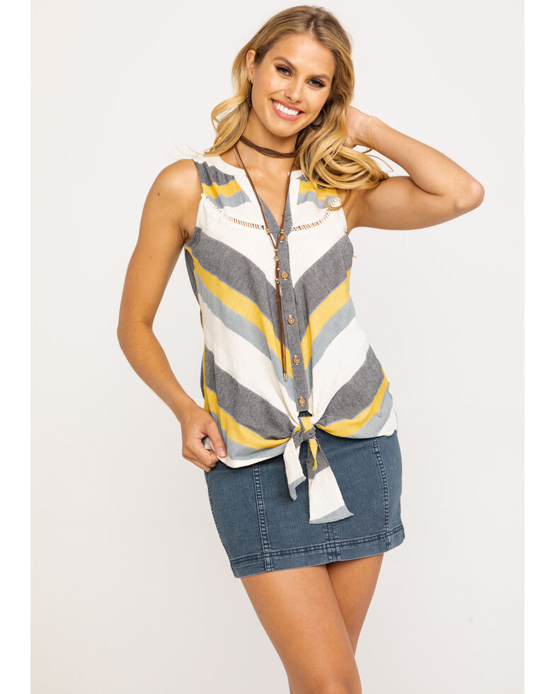Shyanne Women's Mustard & Grey Stripe Tie-Up Sleeveless Top, Dark Yellow, hi-res
