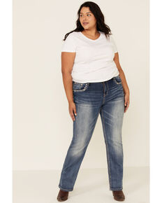 Grace in LA Women's Zip Zap Straight Leg Jeans - Plus, Blue, hi-res