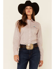 Cinch Women's Red Geo Print Long Sleeve Snap Western Core Shirt , Red, hi-res
