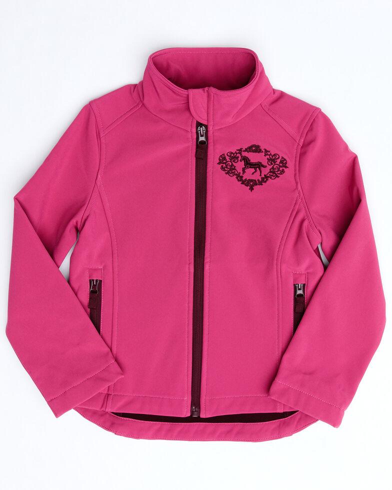Shyanne Girls' Pink Softshell Fleece Jacket , Pink, hi-res