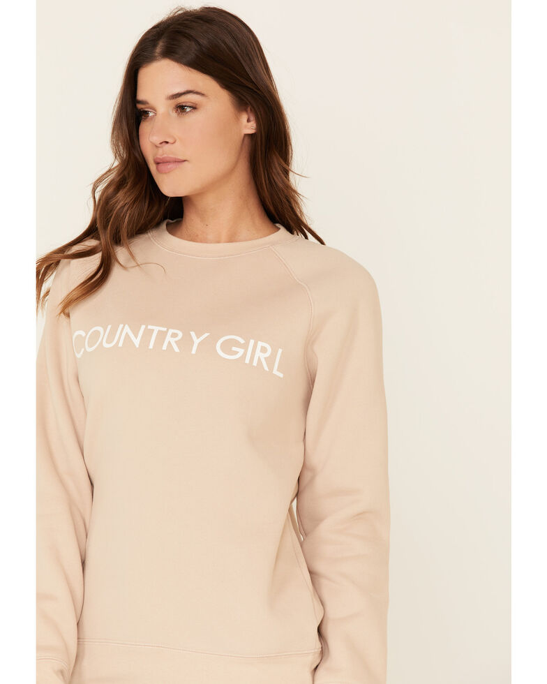 Brunette The Label Women's Almond Country Girl Long Sleeve Top, Brown, hi-res