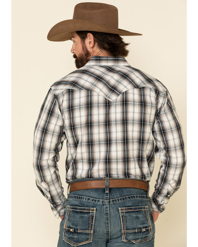 Resistol Men's Grey Melville Large Plaid Long Sleeve Western Shirt , Grey, hi-res