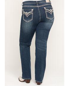 Grace in LA Women's Medium Flap Straight Jeans - Plus, Blue, hi-res