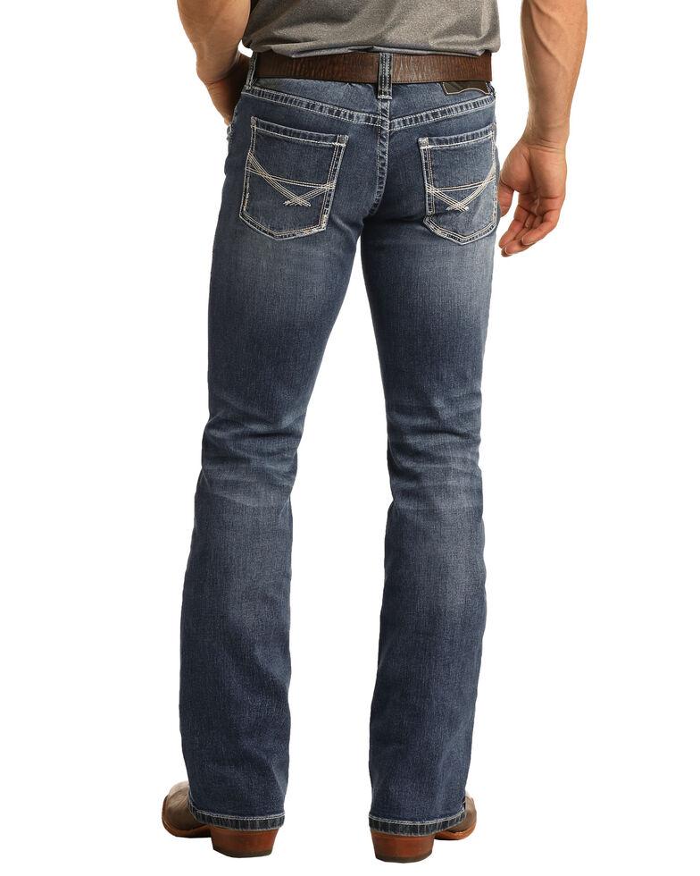 Rock & Roll Denim Men's Pistol Dark Vintage Reflex Stretch Bootcut Jeans , Blue, hi-res