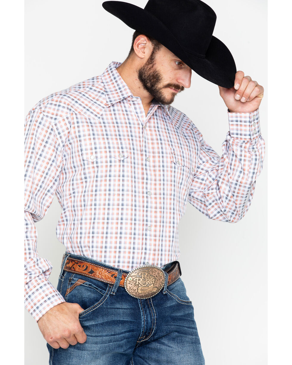 Roper Men's Small Plaid Snap Long Sleeve Western Shirt , Orange, hi-res