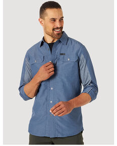 Wrangler ATG Men's All-Terrain Vintage Indigo Mix Material Long Sleeve Button-Down Western Shirt , Navy, hi-res
